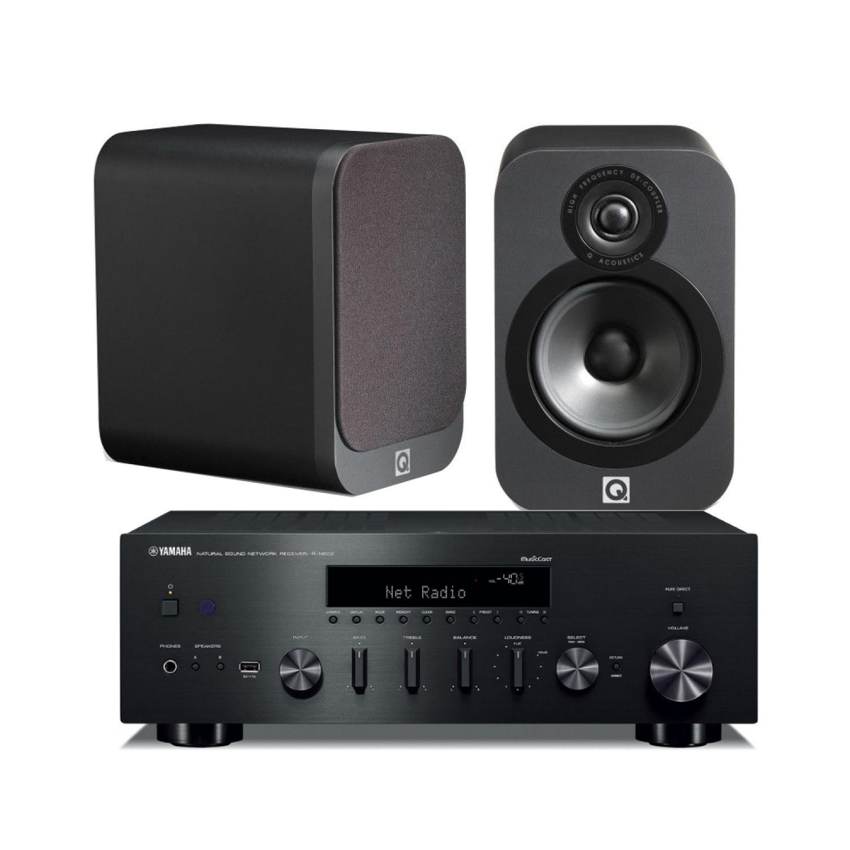 yamaha r n602 amplifier with q acoustics 3020 speakers. Black Bedroom Furniture Sets. Home Design Ideas