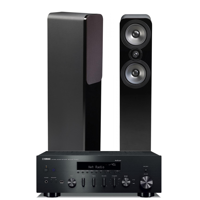 yamaha r n602 amplifier with q acoustics 3050 speakers. Black Bedroom Furniture Sets. Home Design Ideas