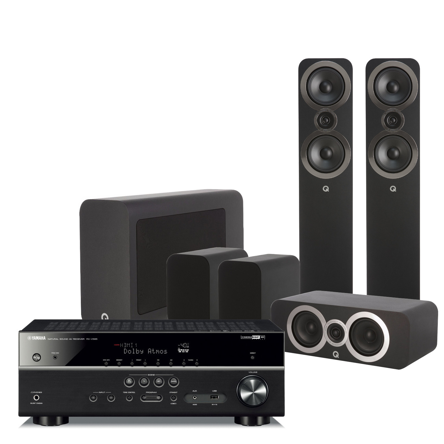 Yamaha RX-V585 7 2 Channel AV Receiver with Q Acoustics