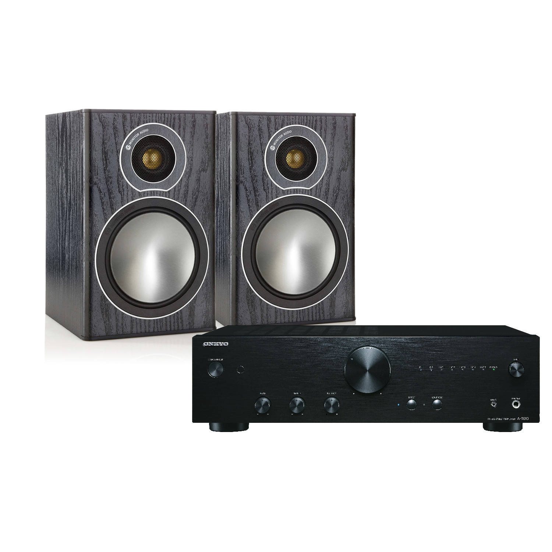onkyo bookshelf stereo system. onkyo a-9010 with monitor audio bronze 1 speakers bookshelf stereo system