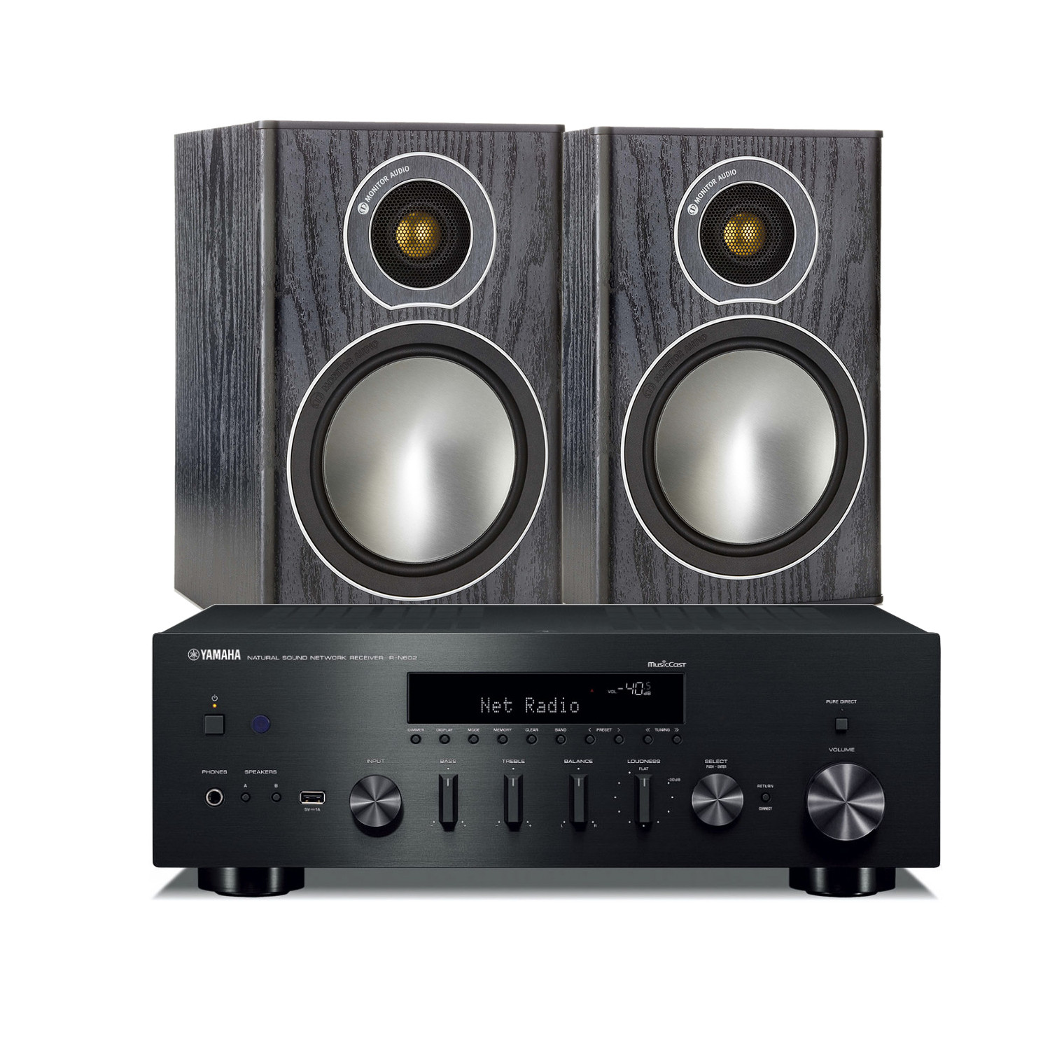yamaha r n602 amplifier with monitor audio bronze 1 speakers. Black Bedroom Furniture Sets. Home Design Ideas