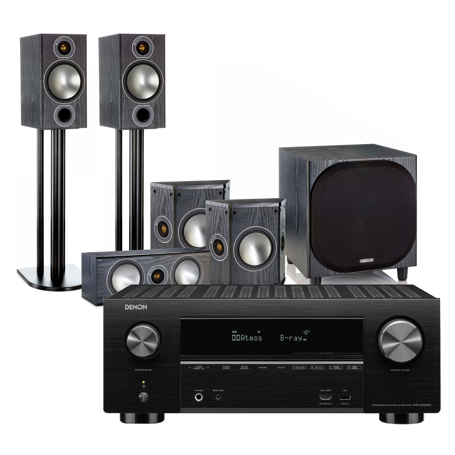 Denon AVR-X3500H 7 2 Channel AV Receiver with Monitor Audio Bronze 2