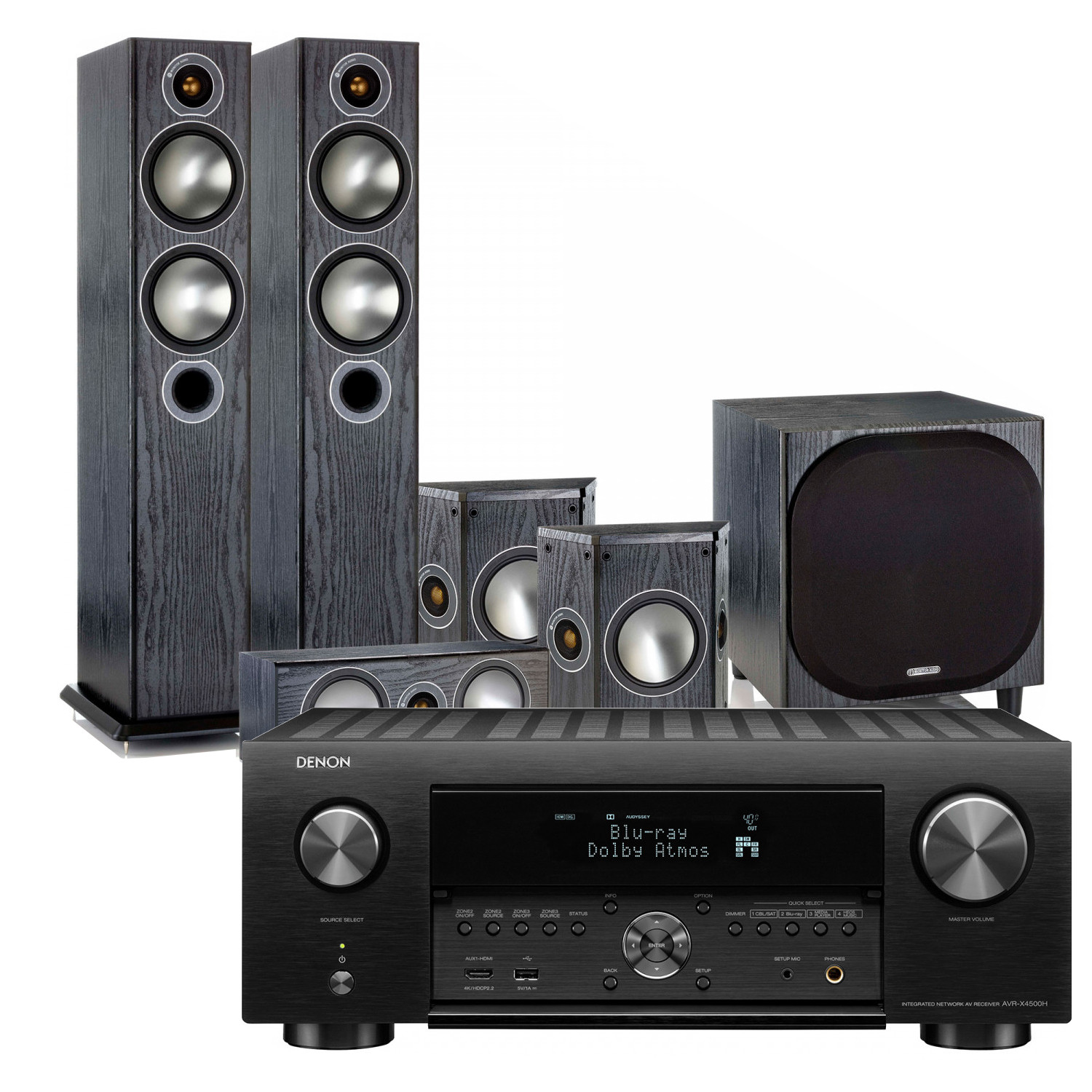 Denon AVR-X4500H 9 2 Channel AV Receiver with Monitor Audio
