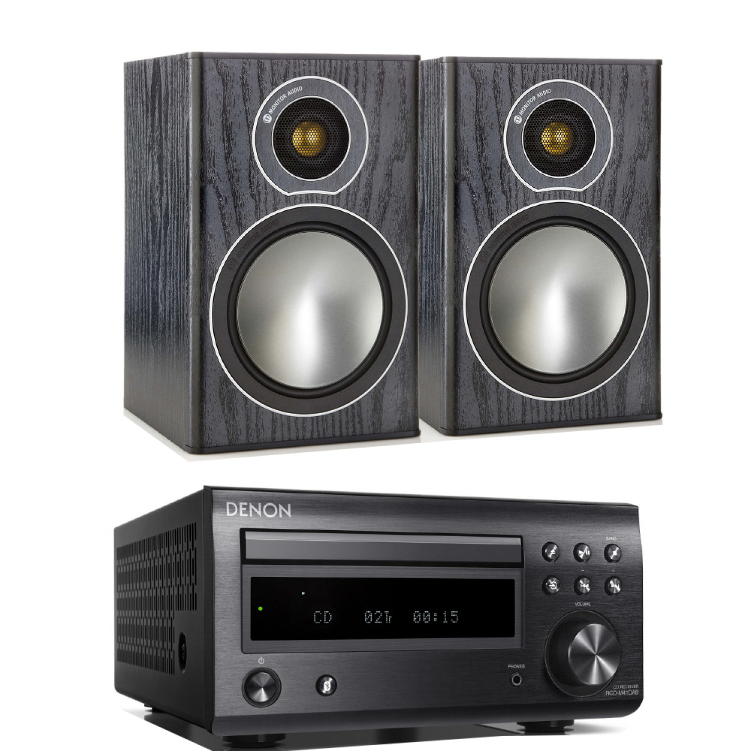 denon d m41dab hi fi system with monitor audio bronze 1 speakers. Black Bedroom Furniture Sets. Home Design Ideas