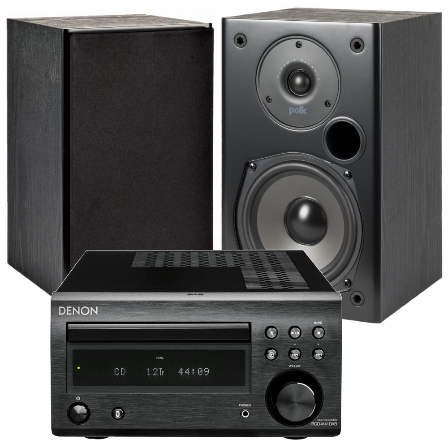 Denon D M41DAB Hi Fi System With Polk Audio T15 Bookshelf Speakers