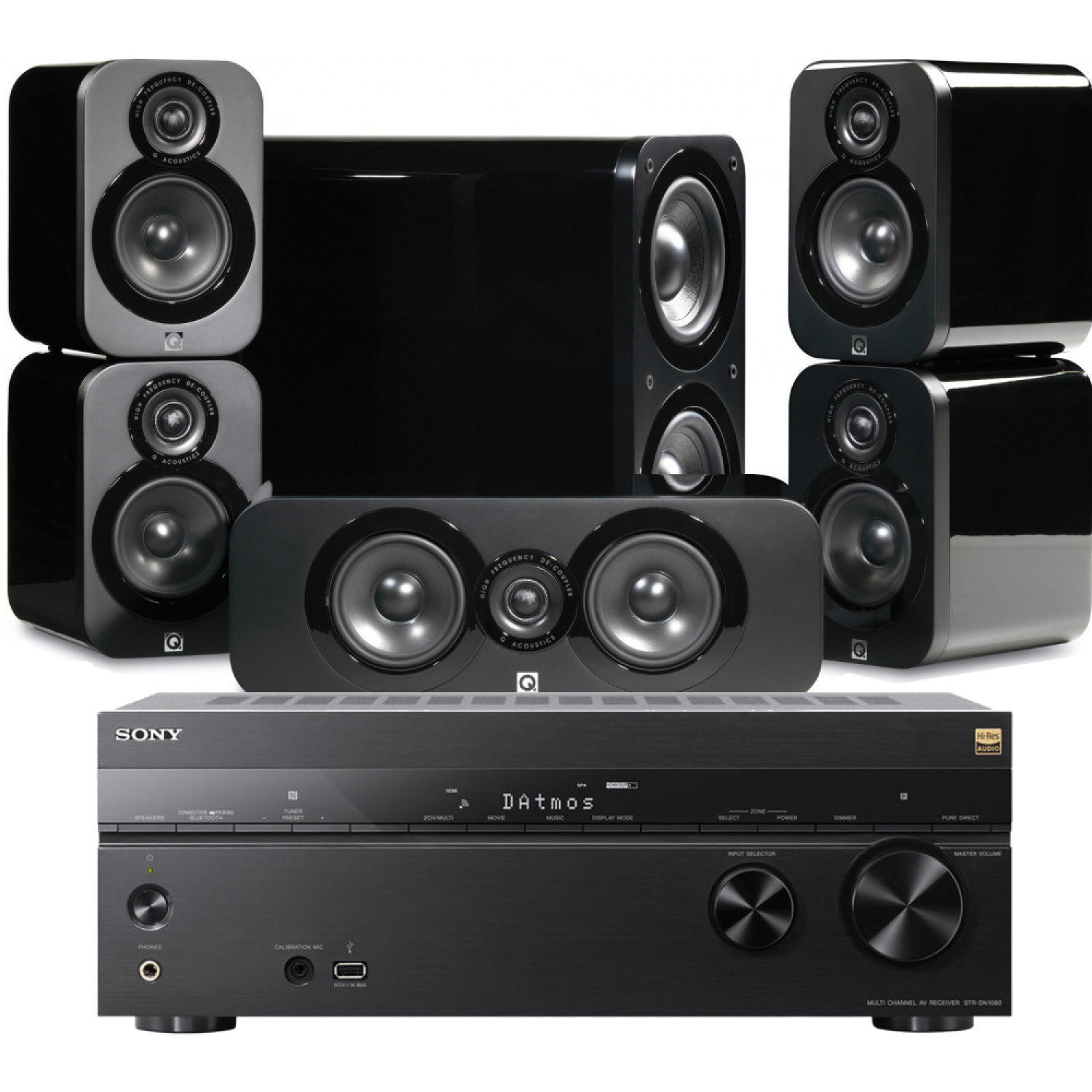 Sony Str Dn1080 Av Receiver With Q Acoustics 3000 Cinema