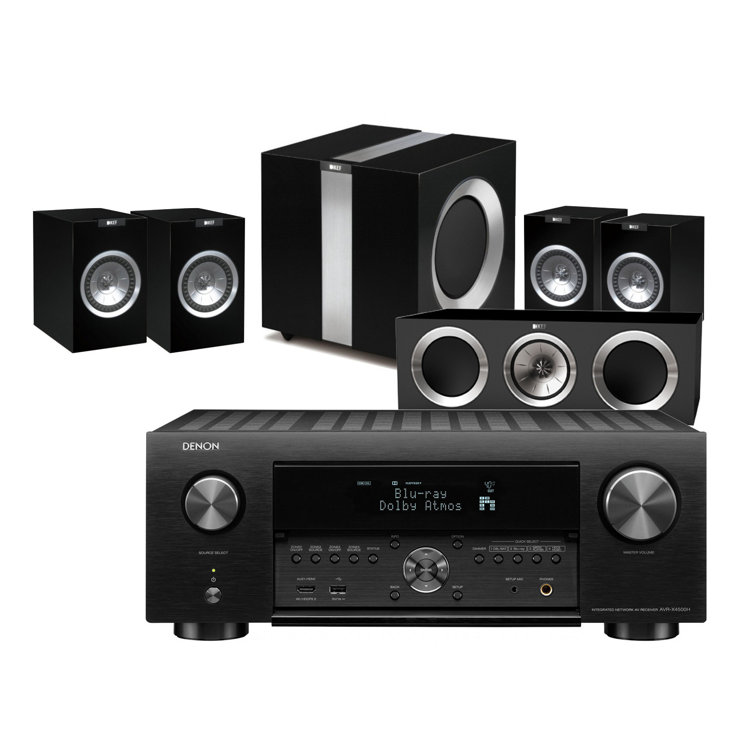 Denon AVR-X4500H 9 2 Channel AV Receiver with KEF R100 Home