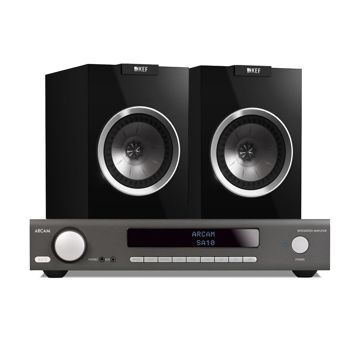 Arcam SA10 Integrated Amplifier With KEF R100 Bookshelf Speakers