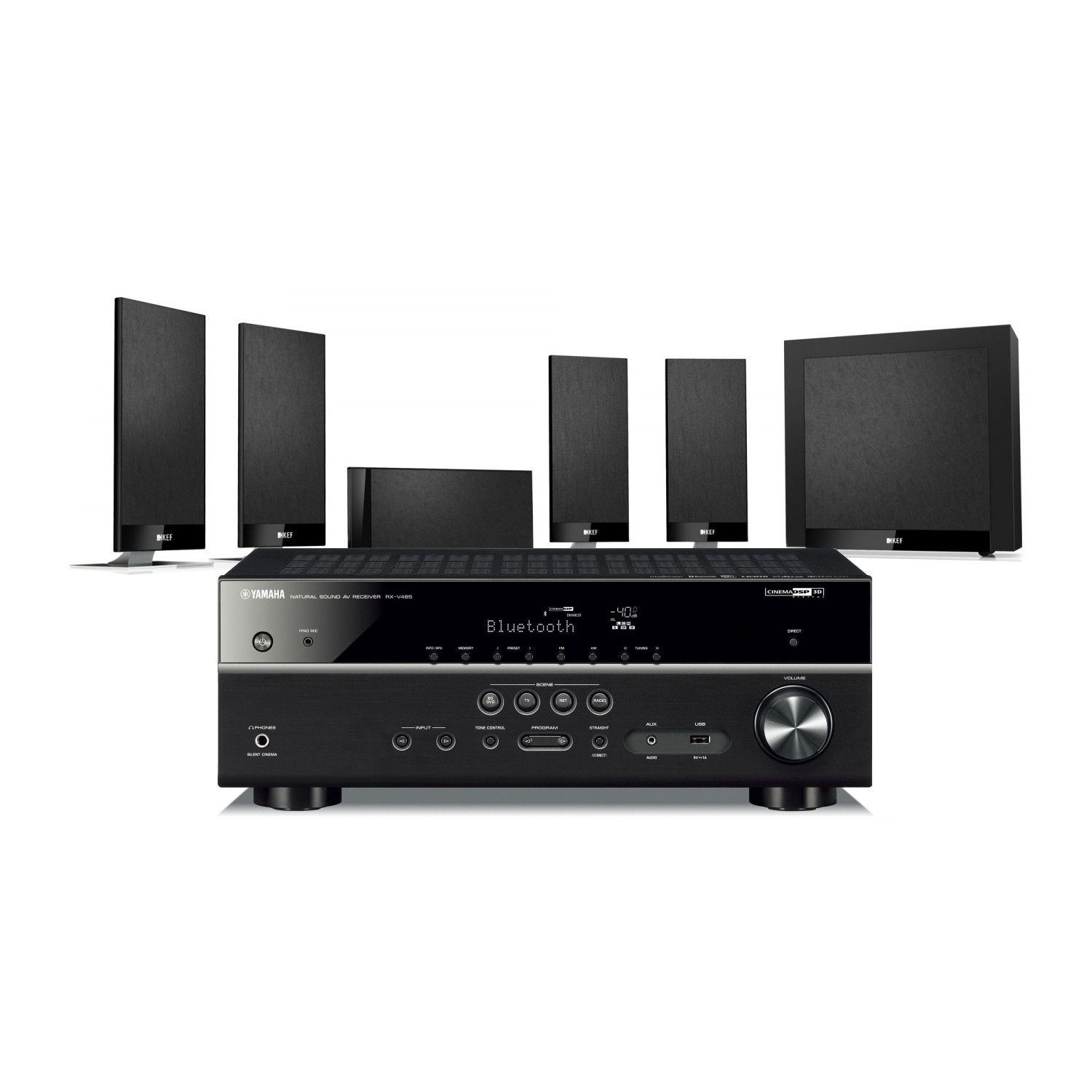 yamaha rx v485 av receiver with kef t105 av speakers. Black Bedroom Furniture Sets. Home Design Ideas