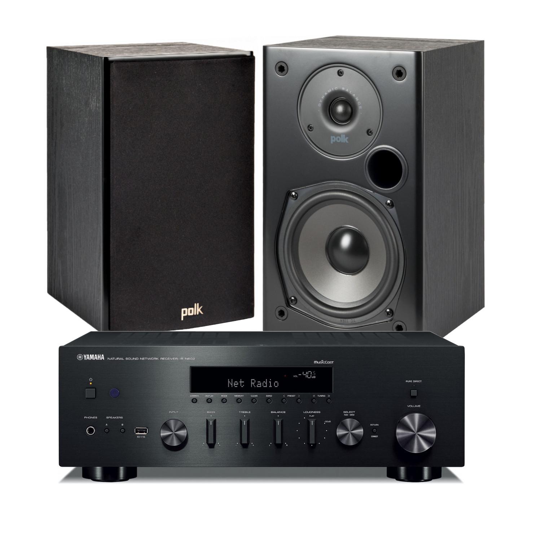 Yamaha R N602 Amplifier With Polk Audio T15 Bookshelf Speakers