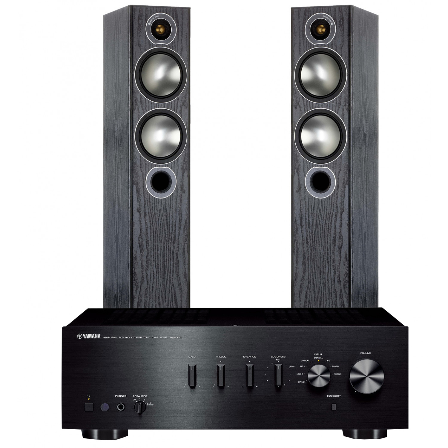 Yamaha A S301 Integrated Amplifier With Monitor Audio Bronze