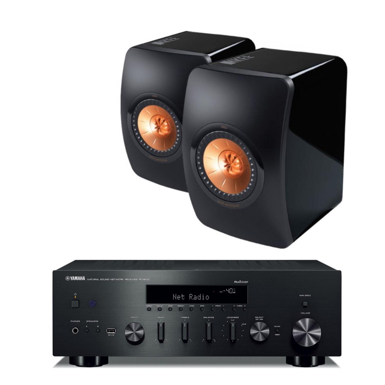 yamaha r n602 amplifier with kef ls50 speakers. Black Bedroom Furniture Sets. Home Design Ideas
