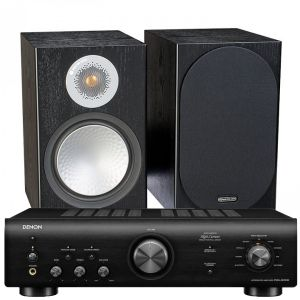 Denon PMA-600NE Integrated Amplifier with Monitor Audio Silver 100 Bookshelf Speakers