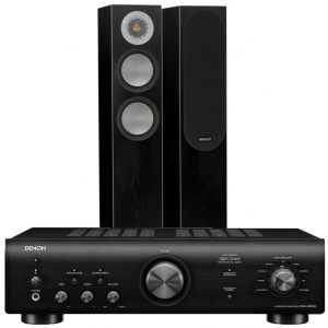 Denon PMA-600NE Integrated Amplifier with Monitor Audio Silver 200 Floor Standing Speakers