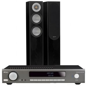 Arcam SA10 Integrated Amplifier with Monitor Audio Silver 200 Floorstanding Speakers