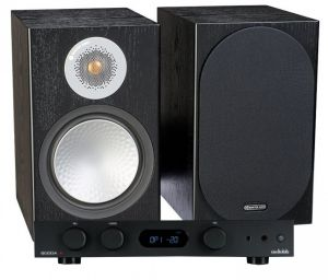 Audiolab 6000A Amplifier with Monitor Audio Silver 50 Bookshelf Speakers
