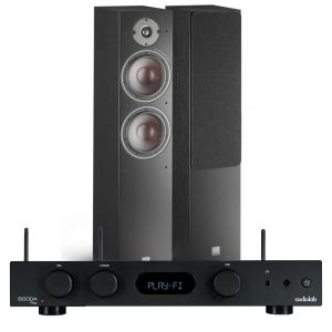 Audiolab 6000A Play Wireless Amplifier & Streaming Player with Dali Oberon 7 Floorstanding Speakers
