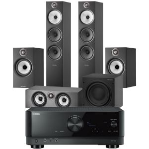 Yamaha RX-V4A AV Receiver with Bowers & Wilkins 603 S2 Anniversary Edition 5.1 Home Cinema Speaker Package (606 S2 Rears)