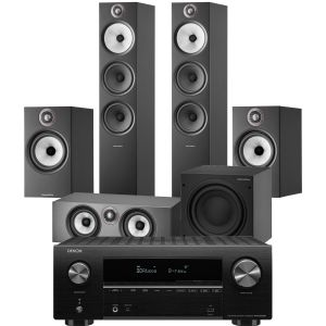 Denon AVR-X2700H AV Receiver with Bowers & Wilkins 603 S2 Anniversary Edition 5.1 Home Cinema Speaker Package (606 S2 Rears)