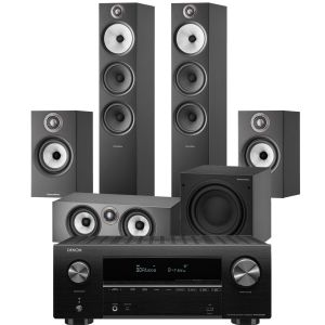 Denon AVR-X2700H AV Receiver with Bowers & Wilkins 603 S2 Anniversary Edition 5.1 Home Cinema Speaker Package (607 S2 Rears)