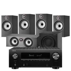 Denon AVR-X2700H AV Receiver with Bowers & Wilkins 606 S2 Anniversary Edition 5.1 Home Cinema Speaker Package (606 S2 Rears)
