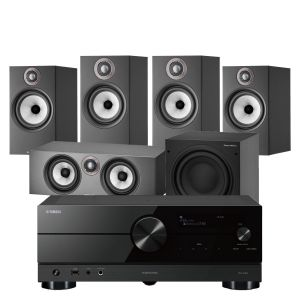 Yamaha RX-A2A AV Receiver with Bowers & Wilkins 606 S2 Anniversary Edition 5.1 Home Cinema Speaker Package (607 S2 Rears)