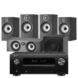 Denon AVR-X2700H AV Receiver with Bowers & Wilkins 606 S2 Anniversary Edition 5.1 Home Cinema Speaker Package (607 S2 Rears)