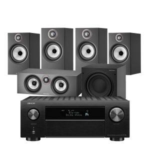 Denon AVC-X4700H AV Amplifier with Bowers & Wilkins 606 S2 Anniversary Edition 5.1 Home Cinema Speaker Package (607 S2 Rears)