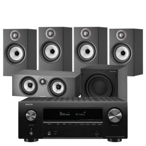 Denon AVR-X2700H AV Receiver with Bowers & Wilkins 607 S2 Anniversary Edition 5.1 Home Cinema Speaker Package (607 S2 Rears)