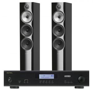 Rotel A11 Tribute Integrated Amplifier with Bowers & Wilkins 703 S2 Floorstanding Speakers
