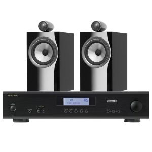 Rotel A11 Tribute Integrated Amplifier with Bowers & Wilkins 705 S2 Standmount Speakers