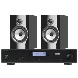 Rotel A11 Tribute Integrated Amplifier with Bowers & Wilkins 706 S2 Standmount Speakers