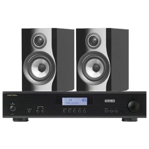 Rotel A11 Tribute Integrated Amplifier with Bowers & Wilkins 707 S2 Standmount Speakers