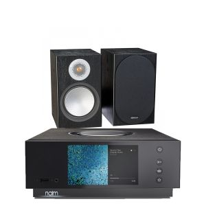 Naim Atom HDMI with Monitor Audio Silver 100 Bookshelf Speakers
