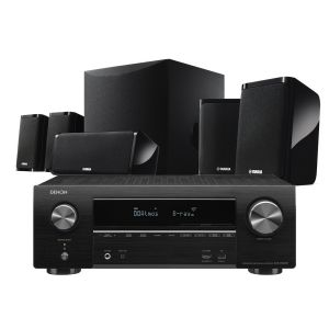 Denon AVR-X1600H DAB AV Receiver with Yamaha NS-P41 5.1 Home Theatre Speaker Package