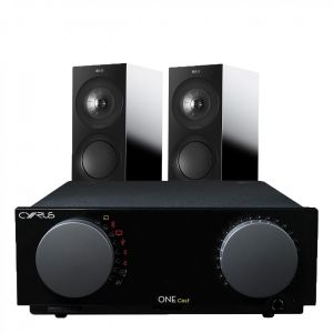 Cyrus One Cast Amplifier with KEF R3 Bookshelf Speakers