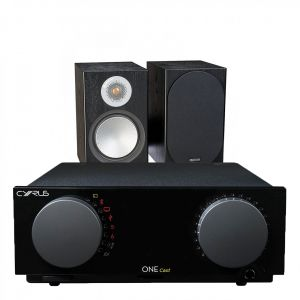 Cyrus One Cast Amplifier with Monitor Audio Silver 100 Bookshelf Speakers