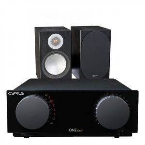 Cyrus One Cast Amplifier with Monitor Audio Silver 50 Bookshelf Speakers