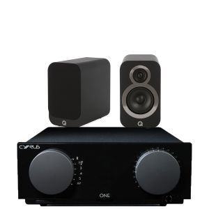 Cyrus One Integrated Amplifier with Q Acoustics Q3010i Bookshelf Speakers