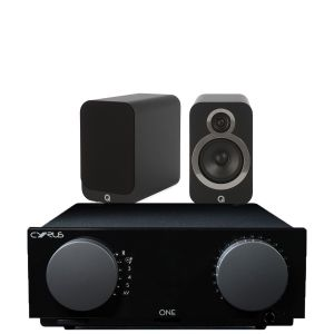 Cyrus One Integrated Amplifier with Q Acoustics 3020i Bookshelf Speakers