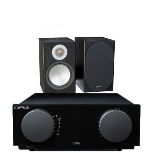 Cyrus One Integrated Amplifier with Monitor Audio Silver 50 Bookshelf Speakers