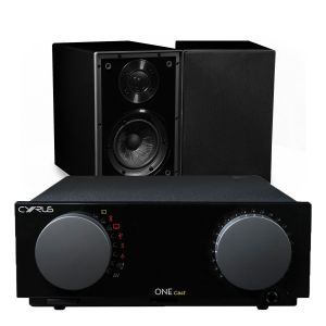 Cyrus One Cast Amplifier with Cyrus One Linear Bookshelf Speakers