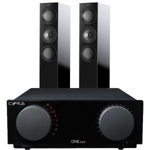 Cyrus One Cast Amplifier with KEF R5 Floorstanding Speakers
