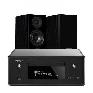 Denon CEOL N11DAB  Hi-Fi-Network CD Receiver with Wharfedale Diamond 12.1 Bookshelf Speakers