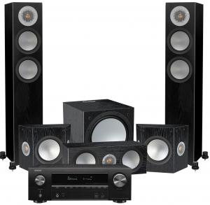 Denon AVR-X1600H AV Receiver with Monitor Audio Silver 200 AV12 5.1 Speaker Pack