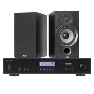 Rotel A11 Tribute Integrated Amplifier with Elac Debut B6.2 Bookshelf Speakers