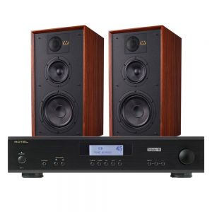 Rotel A11 Tribute Integrated Amplifier with Wharfedale Linton Heritage Standmount Speakers