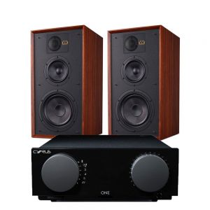 Cyrus One Integrated Amplifier with Wharfedale Linton Heritage Standmount Speakers