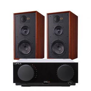 Cyrus One HD Integrated Amplifier with Wharfedale Linton Heritage Standmount Speakers
