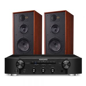 Marantz PM6007 Integrated Amplifier with Wharfedale Linton Heritage Standmount Speakers